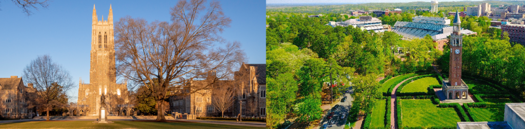 Duke and UNC Chapel Hill campuses